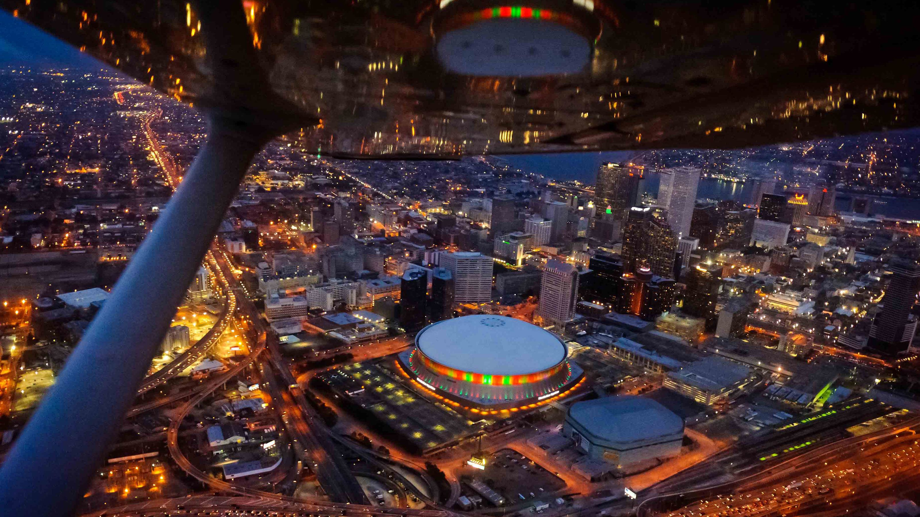 ariel view of super-dome in New Orleans