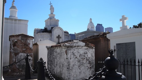 gravestones in cemetery in French Quarter in New Orleans