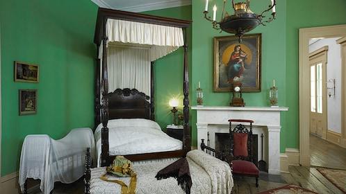 bedroom inside mansion estate in New Orleans