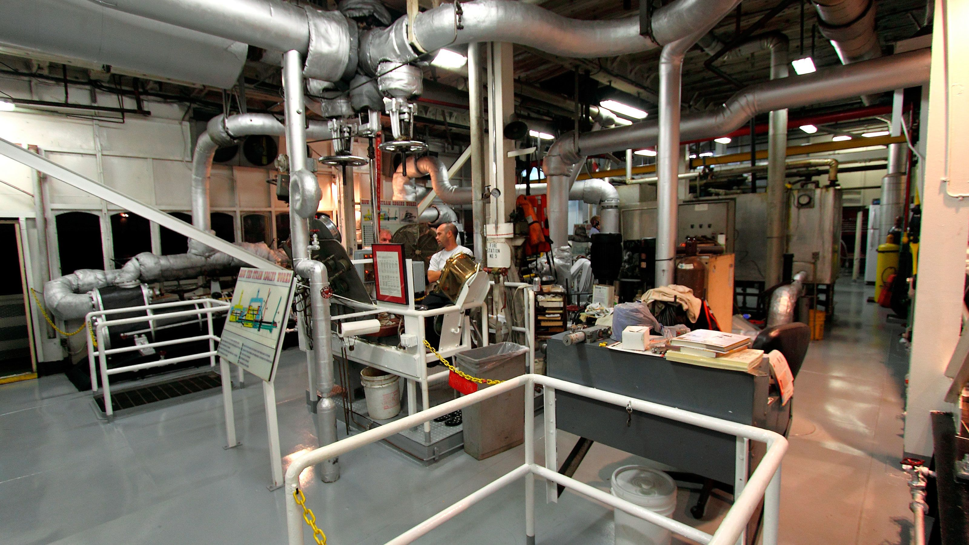 engine room aboard steamboat tour in New Orleans