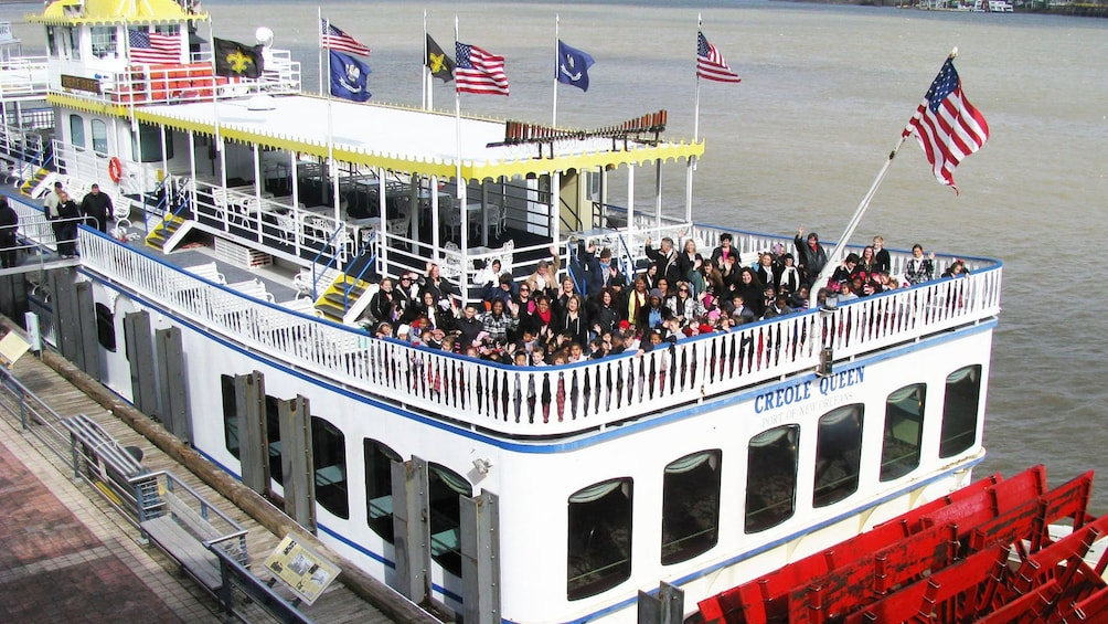 People ready for paddleboat cruise in New Orleans