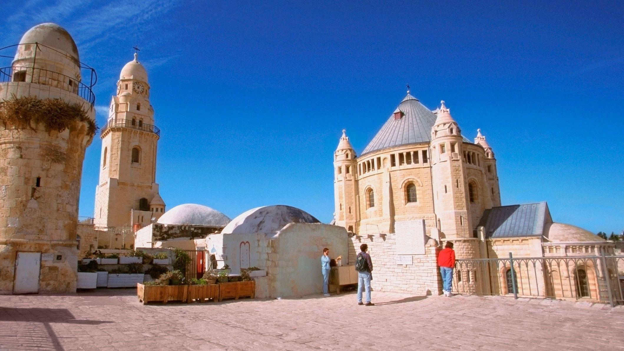 People outside the dormition abbey in Jerusalem