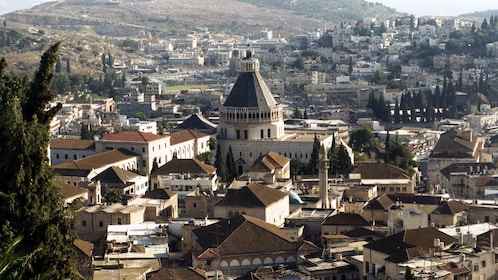 View of dormition abbey in the distance in Jerusalem