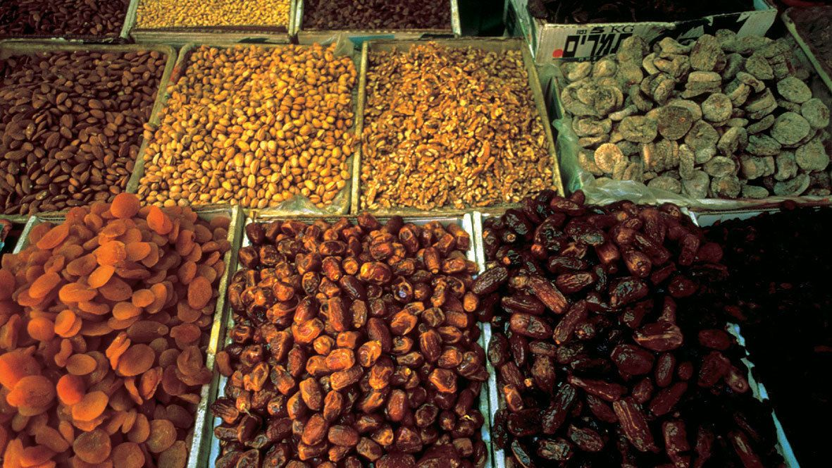 dates and dried fruit for sale at a market in Bethlehem
