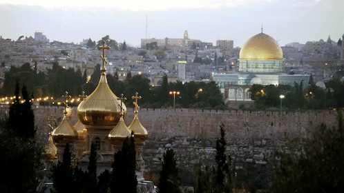 View of Jerusalem and the temple of the Dome of the Rock in the distance