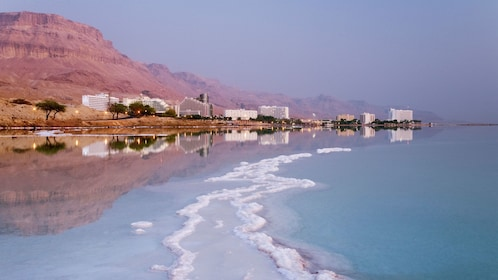 buildings along the shores of the dead sea