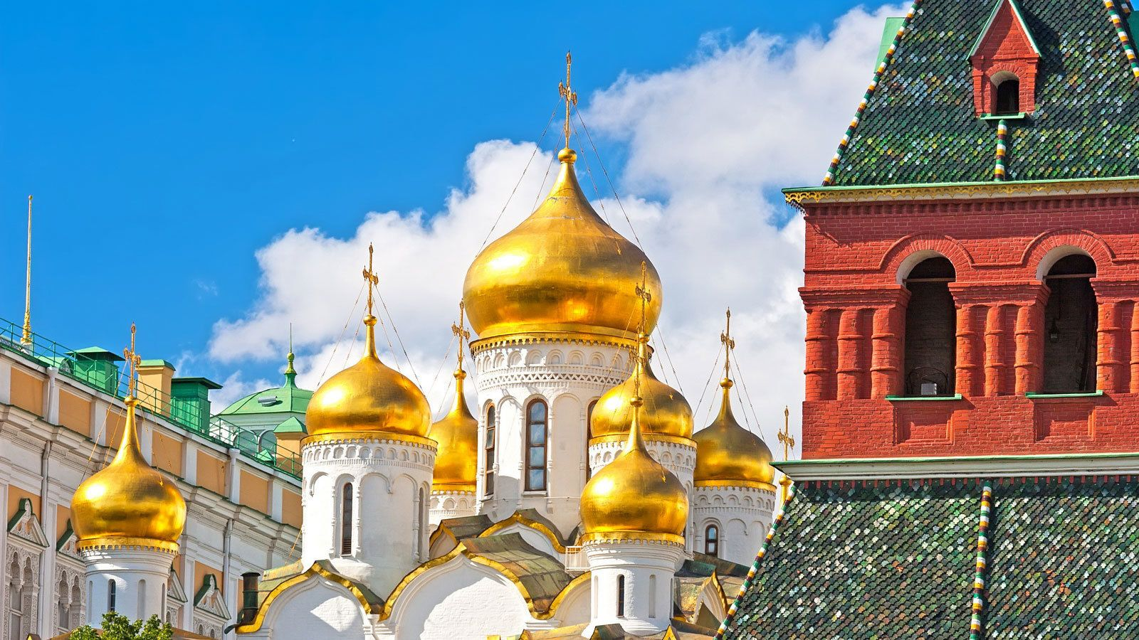 Golden domed spires of the Cathedral of Annunciation