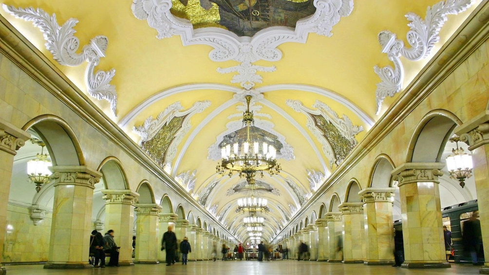 Charger l'élément 1 sur 5. View of the opulent tunnels in Moscow's transit system