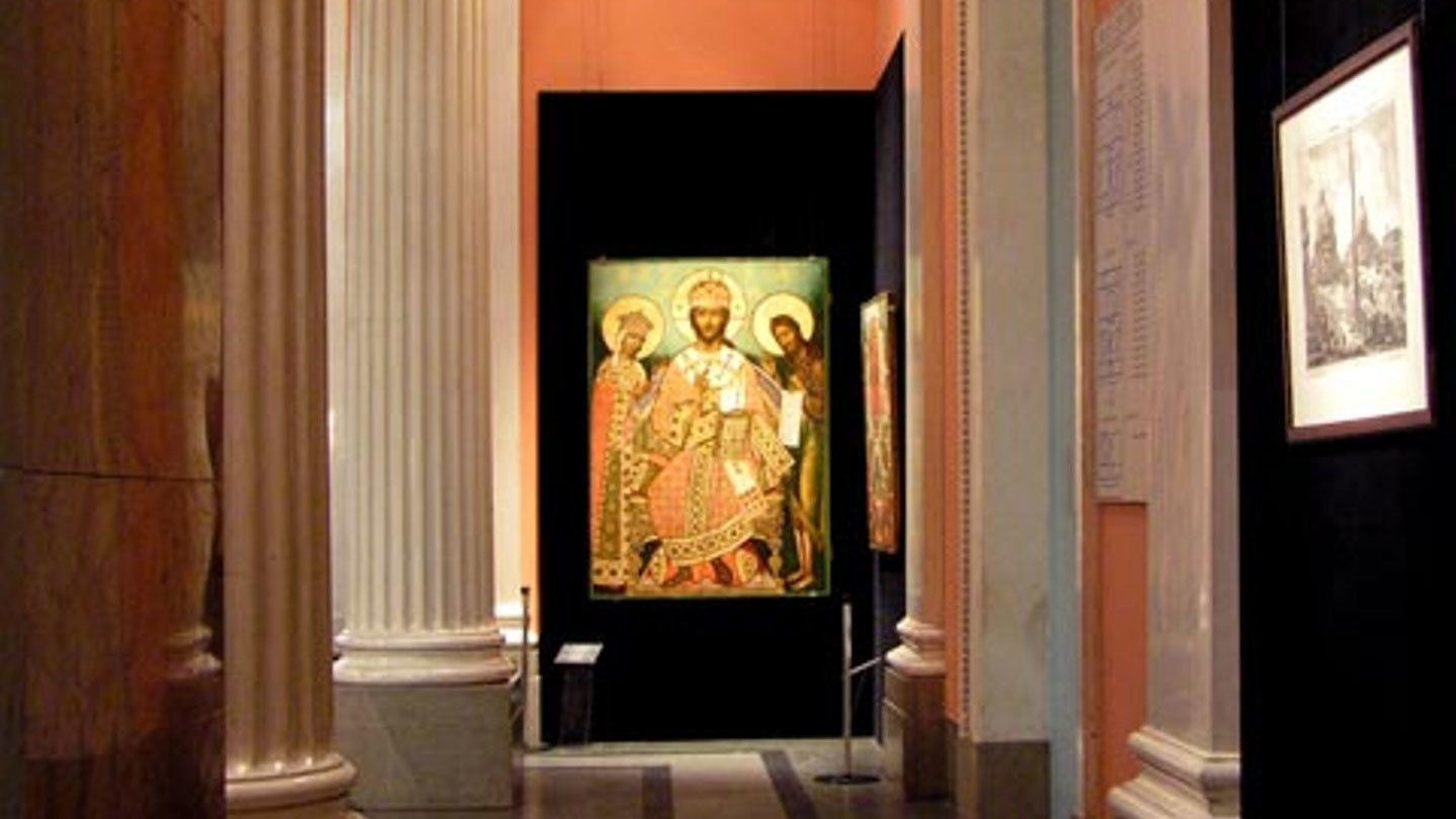 Portrait of saints on exhibit in the Pushkin Museum of Fine Arts