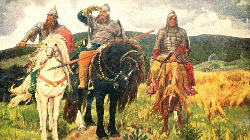Show item 4 of 4. Painting of three leaders on horseback on display at the Tretyakov Gallery