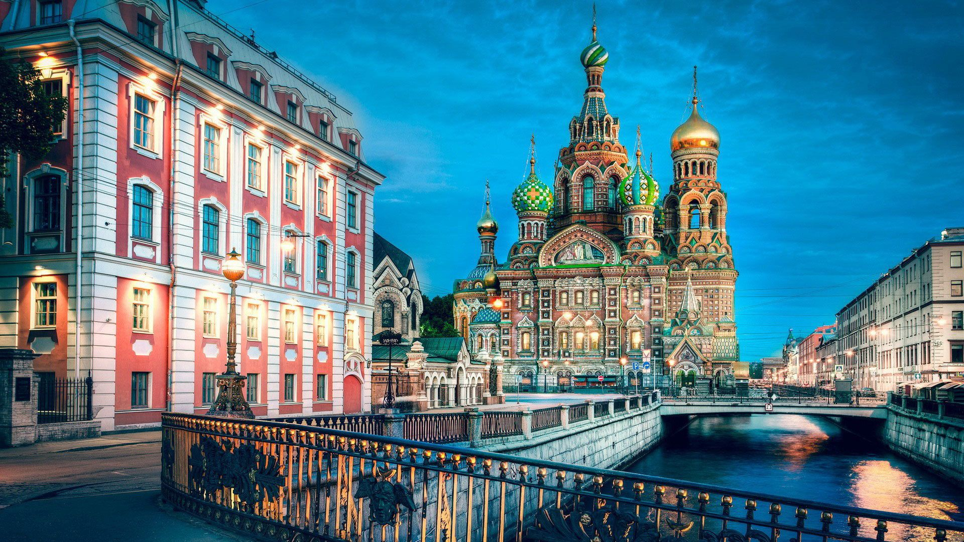 walk by The Church of the Savior on Spilled Blood during the evening in Saint Petersburg