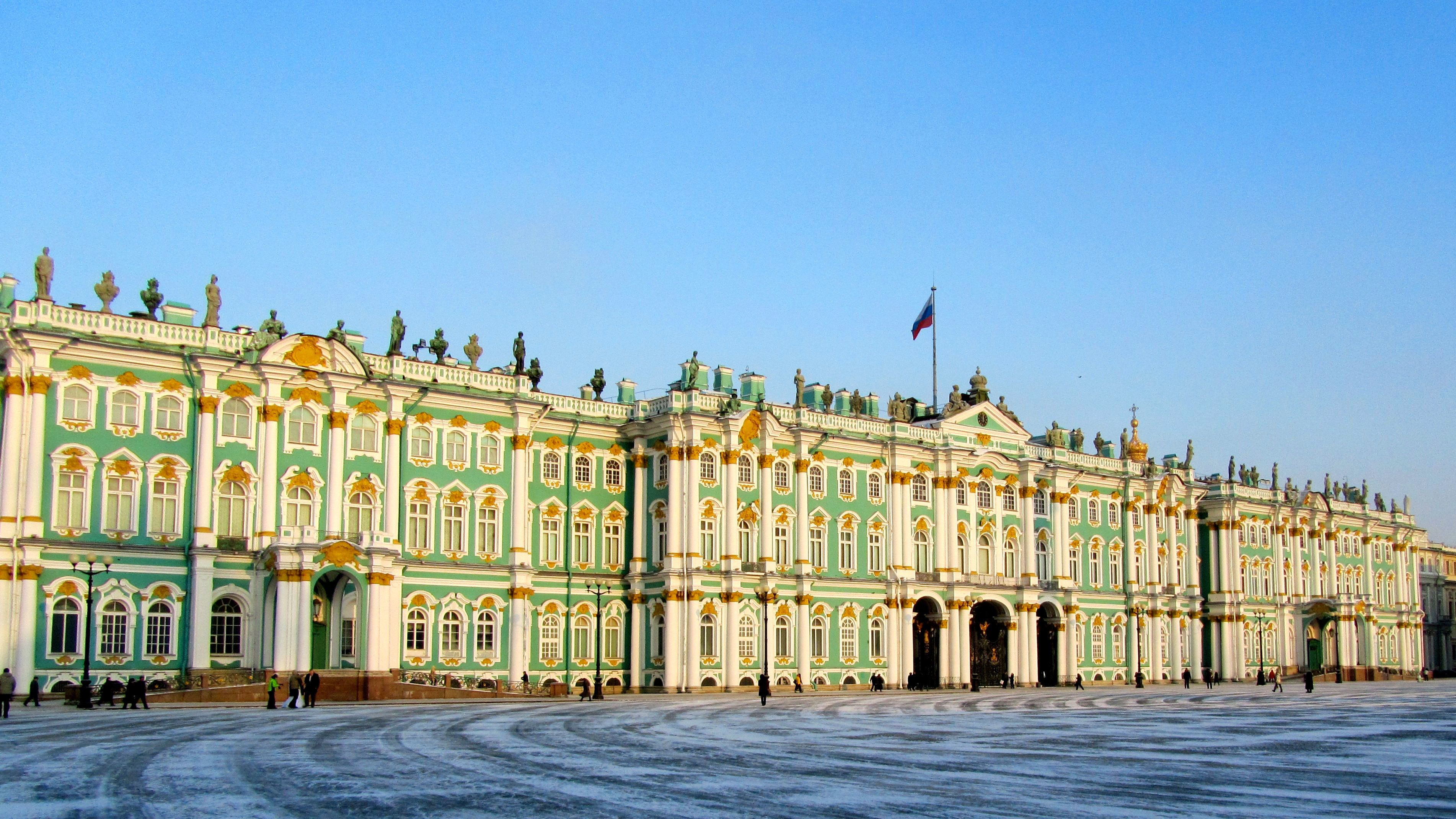 cold day outside of the Hermitage Museum in Saint Petersburg