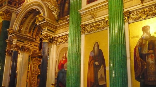 religious figures painted on the walls of Saint Isaac's Cathedral in Saint Petersburg