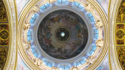 religious depictions painted on the dome of Saint Isaac's Cathedral in Saint Petersburg