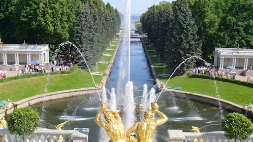 waterway leading to the fountain at the Peterhof Palace in Saint Petersburg