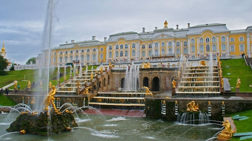 elaborate decorated fountain at the Peterhof Palace in Saint Petersburg