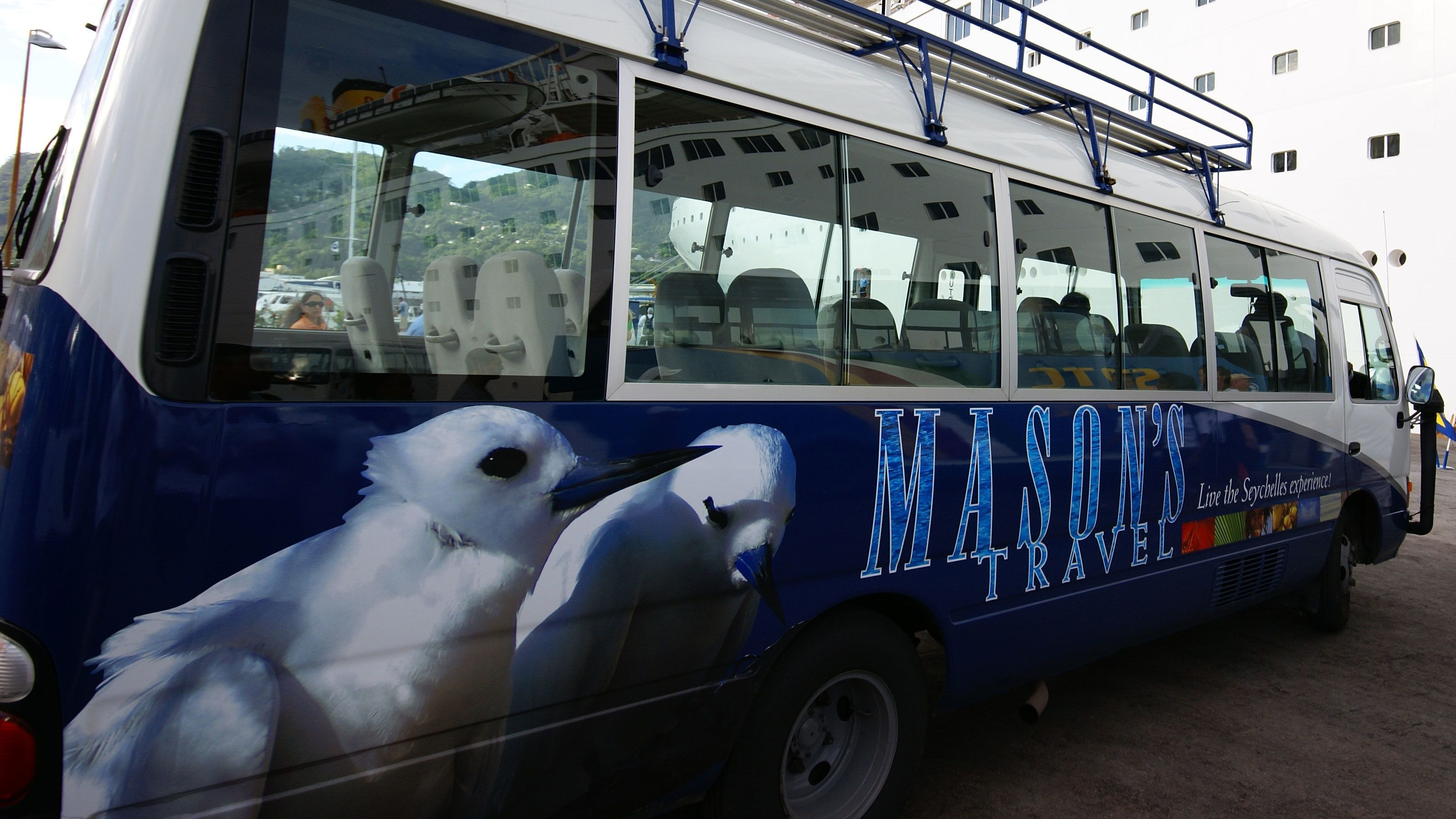 Mason's travel bus in Seychelles