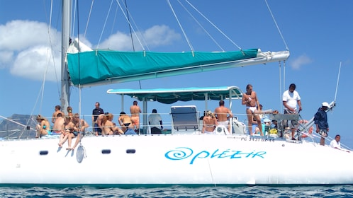 preparing lunch and drinks for the catamaran passengers in Mauritius