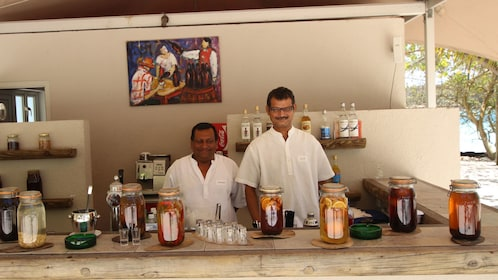 bar tenders station at the Ile des Deux Cocos