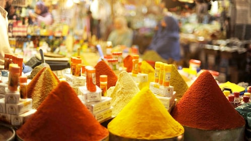 Colorful spices for sale at a market in Agadir