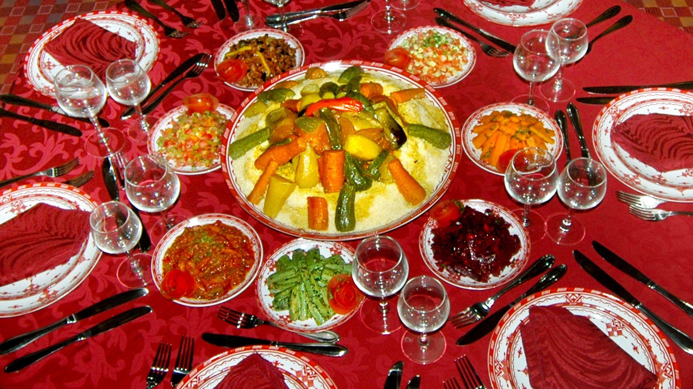 Table full of Moroccan specialties in Agadir