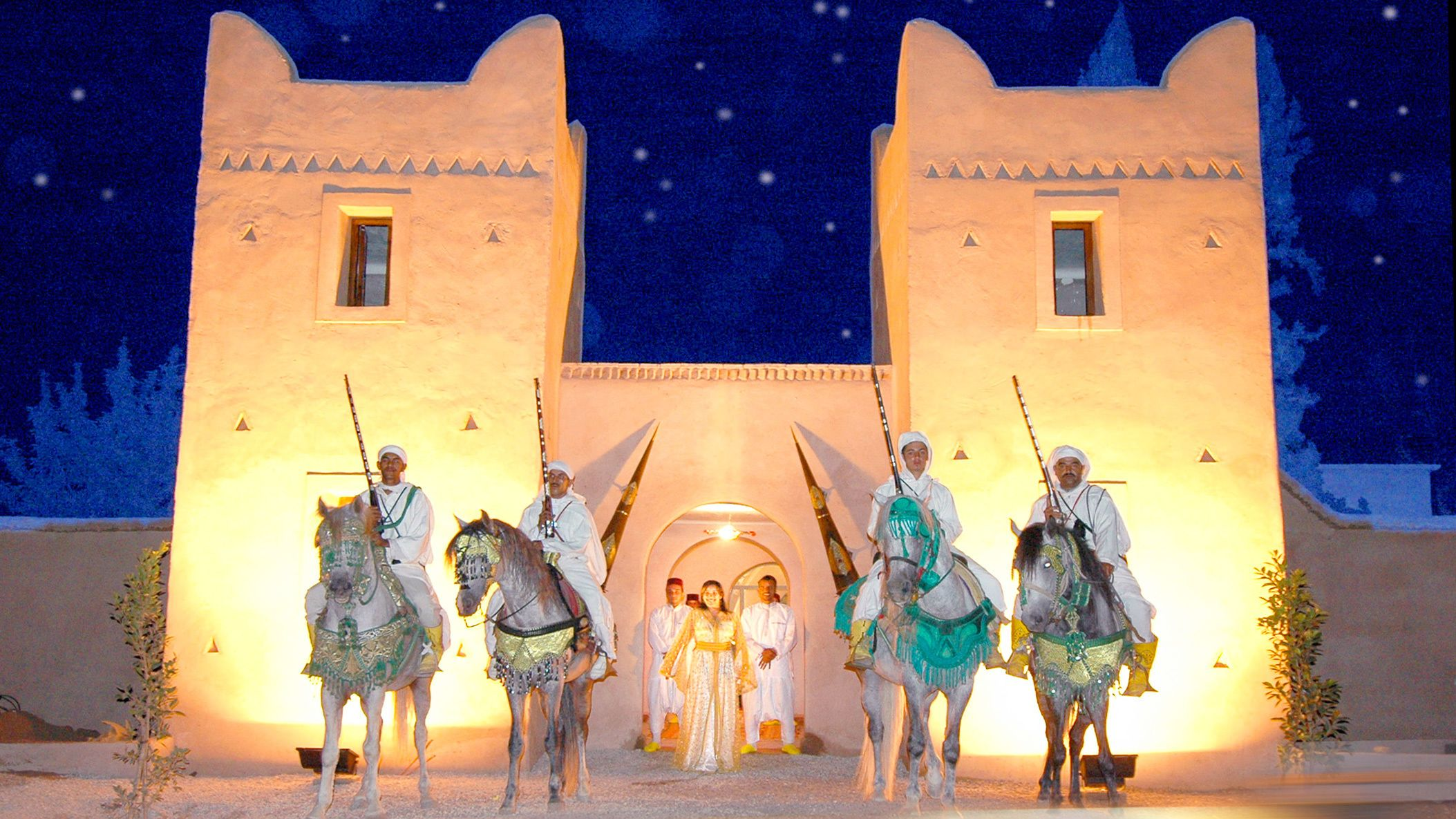 Stallions and performers during a performance in Agadir