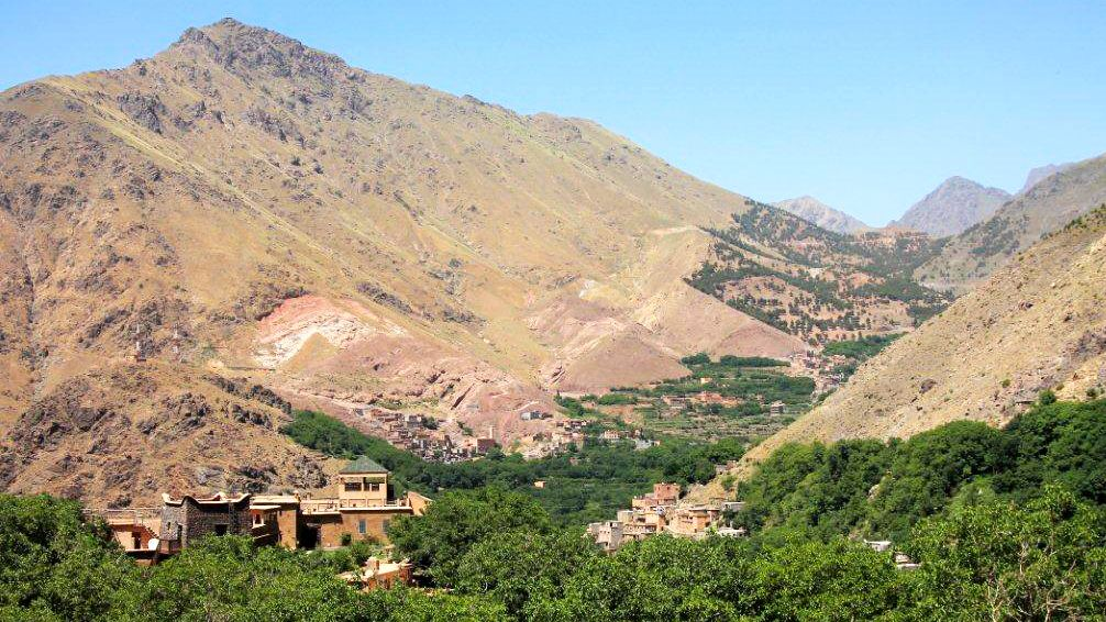 Berber village nestled in the foothills of the Atlas Mountains in Morocco