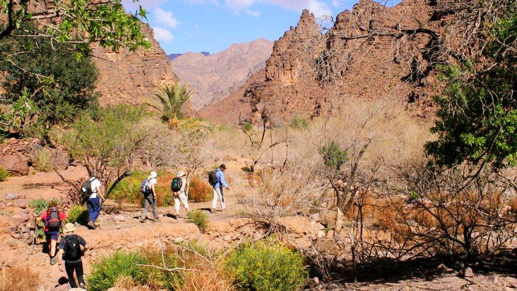 Hiking group in the foothills of the Atlas Mountains in Morocco