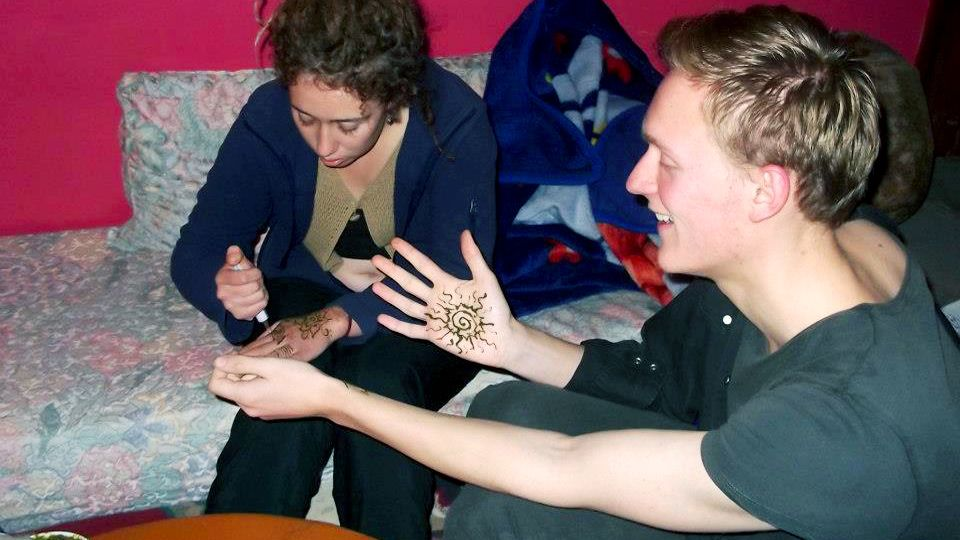 Traditional henna hand tattooing in Agadir