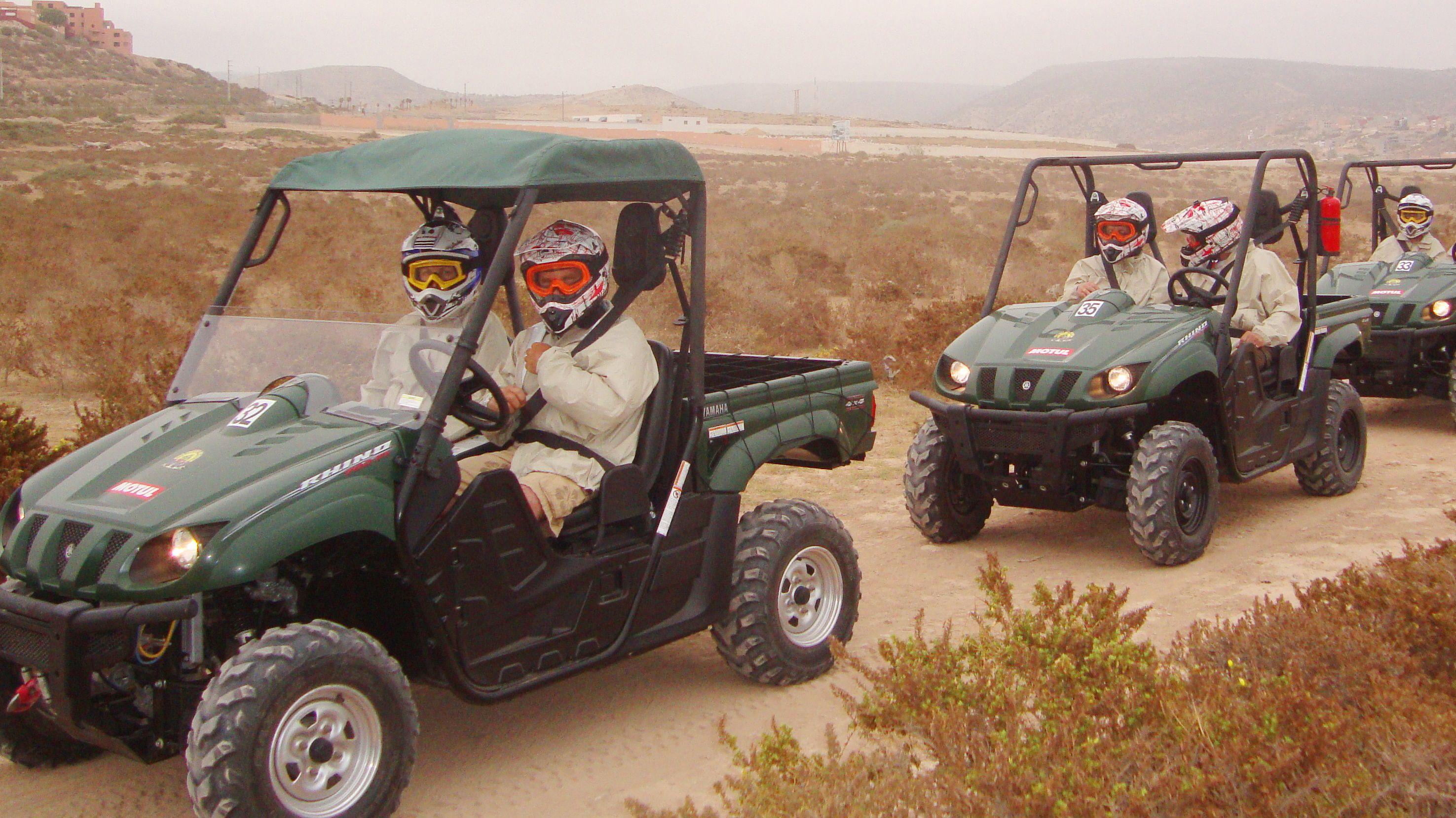 Dune buggy group on a sandy path in Agadir
