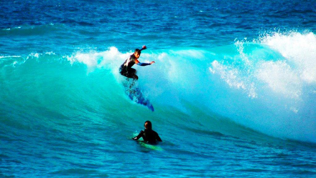 Surfers in the water in Agadir