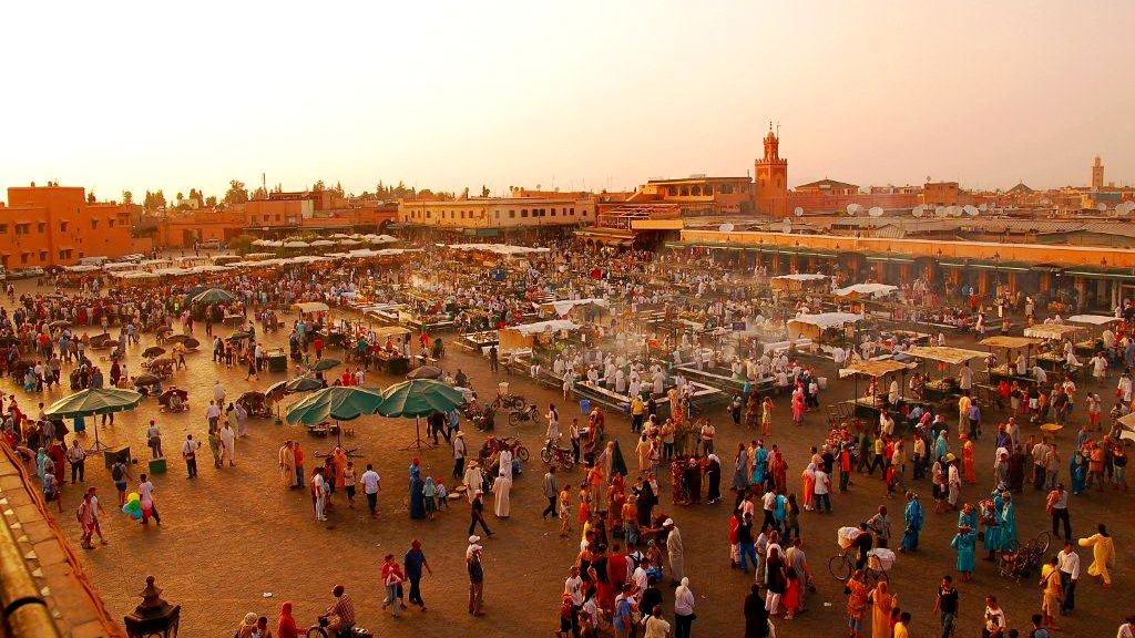 Bustling open-air market at Jemaa el-Fna in Marrakech