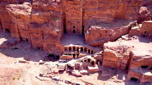 Aerial view of Ancient Al Khazneh temple in Petra City