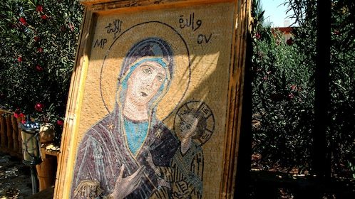 Mosaic portrait of the Virgin Mary and Baby Jesus