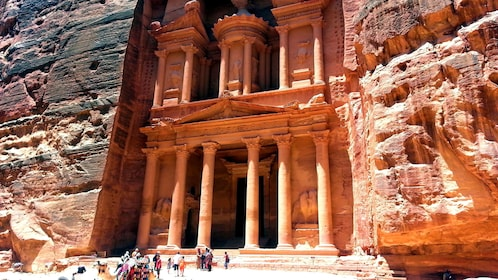 The Al Khazneh temple carved out of rock in Petra