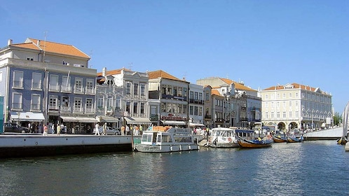boats docked at the water channel in Aveiro in Portugal