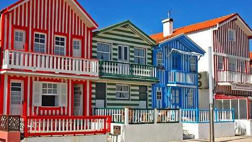 colorful striped homes in Portugal