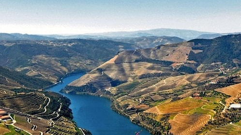 mountainous landscaped covered in farmlands in Douro Valley