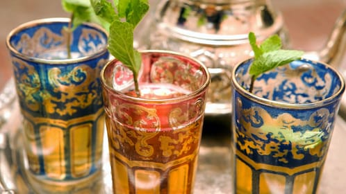 local beverages topped with mint leaves in Tangier
