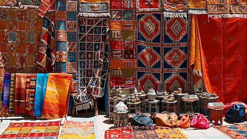 crafted cultural goods at the street market in Tangier