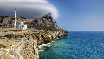 Show item 3 of 5. The Ibrahim al Ibrahim Mosque near the cliff along the ocean in Gibraltar