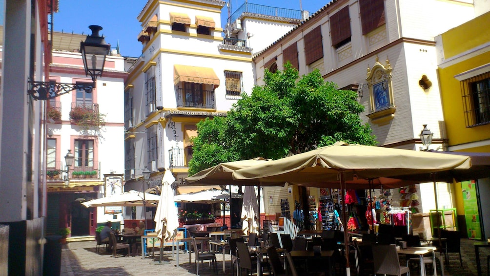 shaded outdoor seating on the streets of Seville
