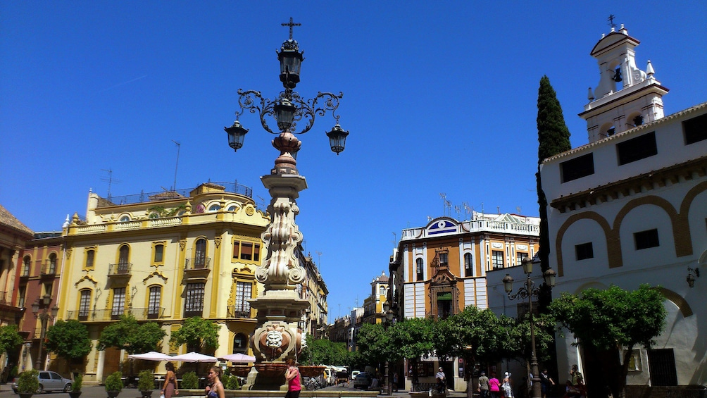 ornamented fountain light post in Seville