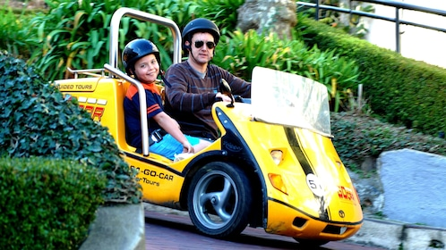 GoCAR driving man with child on Lombard Street in San Francisco