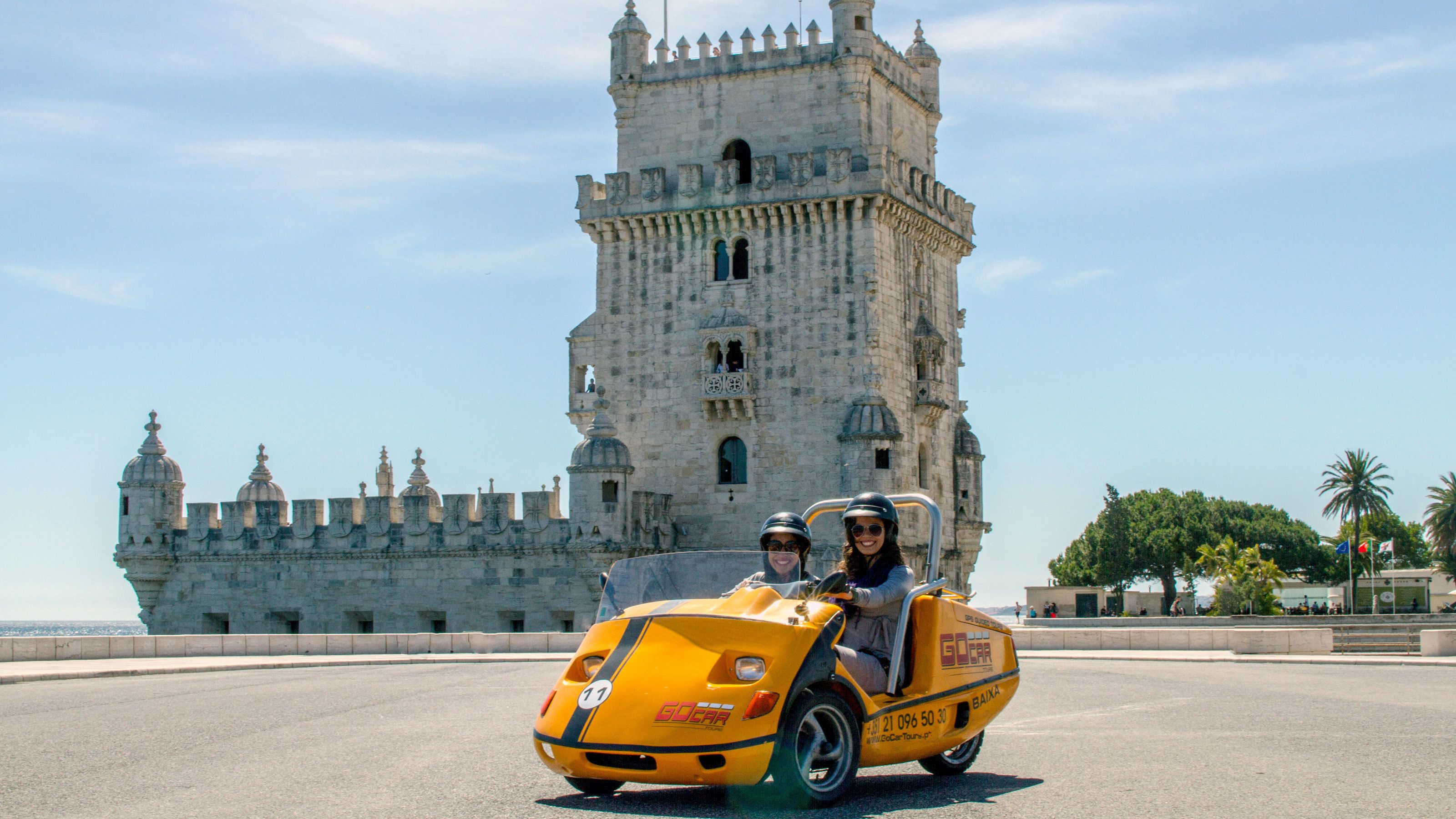 stopping by the Belem Tower on a GO Car in Lisbon
