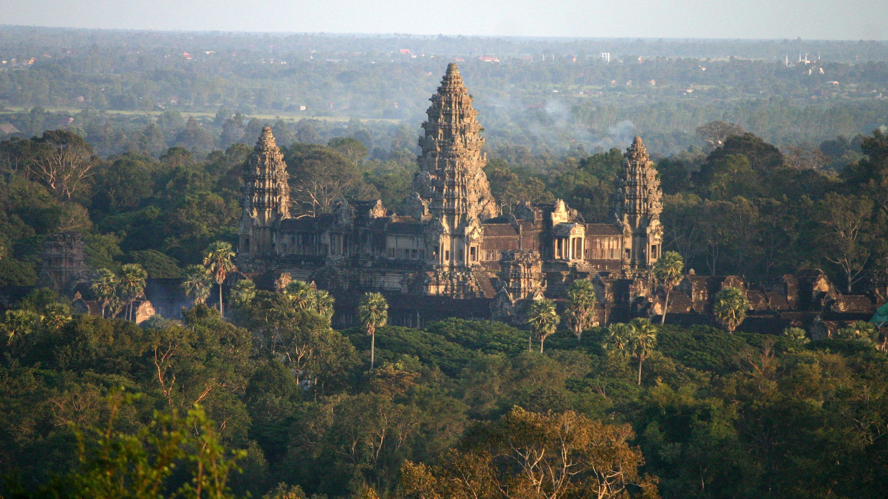 Aerial view of the ancient temples in Siem Reap