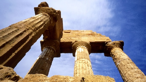 old temple columns among the ruins in Sicily