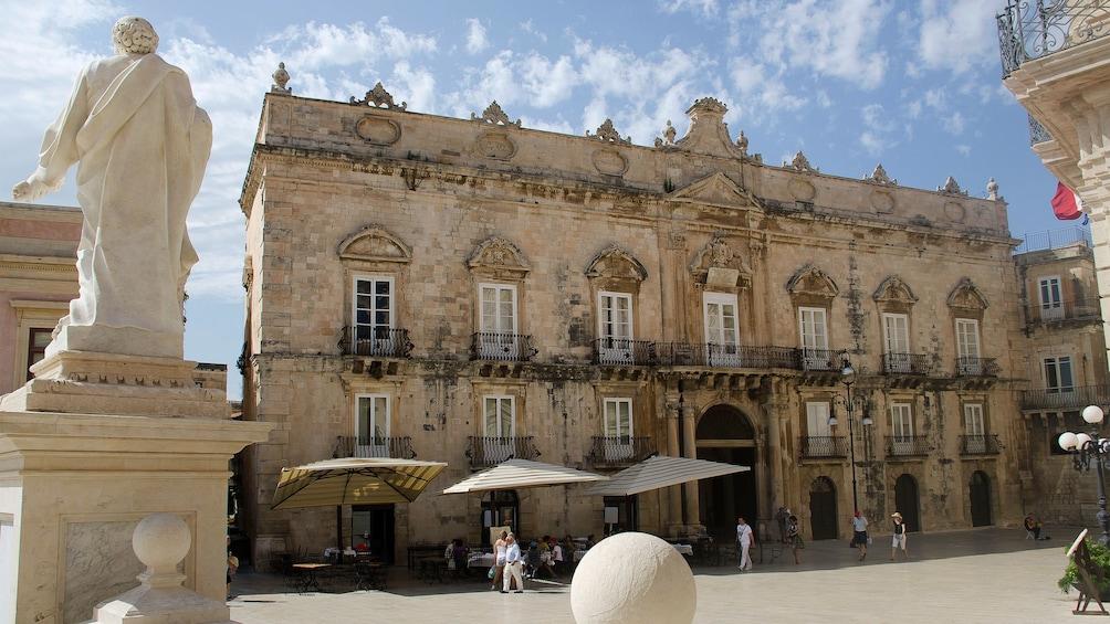 marble sculpture outside the Palazzo Beneventano del Bosco in Sicily