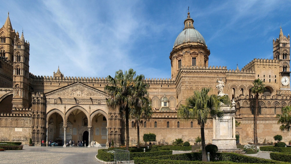 small garden near the entrance to the Palermo Cathedral in Sicily