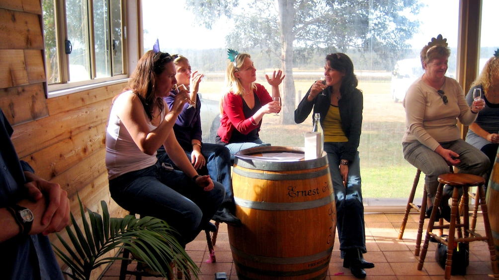 Show item 4 of 8. Group enjoying some wine at a wine tasting in the Hunter Valley region in Australia